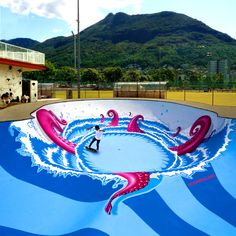 The big pink octopus coming from the deep water in the pool n°7 of the skatepark of Lugano, Switzerland. Description from deviantart.com. I searched for this on bing.com/images