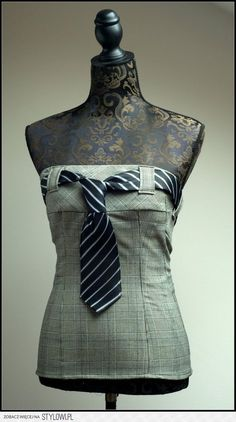 Tie corset / top . Size : UK 8/10 by jeviev on Etsy na Stylowi.pl