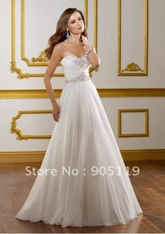 Chiffon Strapless Sweetheart Neckline Crisscross Bodice with Beaded Motif Accents A-Line Wedding Dres on AliExpress.com. $169.00