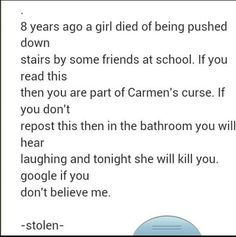 She was pushed down a sewer by her friends. Guys, just do it just in case. <<< doing it just in case Just Do It, Just In Case, Chain Messages, Looks Dark, Creepy Stories, Ghost Stories, Look Here, My Demons, My Tumblr