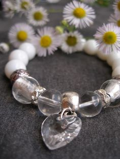 Snow & white glass bracelet