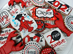 This is my second set of graduation cookies that I did for Petal.they were having a party for their son and a crawfish boil. I do not get terribly excited about graduation cookies and try to do some different designs just to ease the boredom! Graduation Celebration, Graduation Party Decor, Grad Parties, 2nd Birthday Parties, Petal High School, High School Graduation, Graduation 2016, Graduation Ideas, Crawfish Party