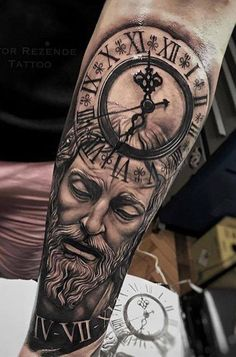 Our Website is the greatest collection of tattoos designs and artists. Find Inspirations for your next Clock Tattoo. Search for more Tattoos. Arm Tattoos For Guys Forearm, Calf Tattoo Men, Forearm Sleeve Tattoos, Full Sleeve Tattoos, God Tattoos, Forarm Tattoos, Jesus Tattoo, Cr7 Tattoo, Clock Tattoo Design