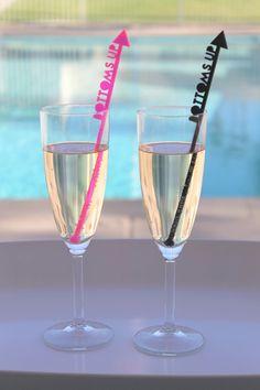 Bottoms Up Drink Stirrers - Set of 6 Laser Cut Acrylic Stir Sticks