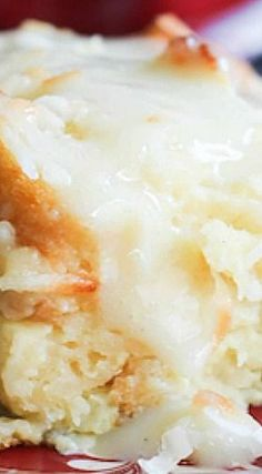 Coconut Bread Pudding with Coconut Cream Sauce ~ This recipe is the Bomb!