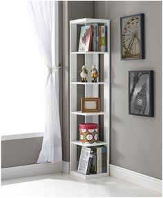 White Finish Wood Wall Corner Bookshelf Bookcase: Wood wall corner 5 tiers shelves bookshelf bookcase is available in white finish. The height of the each shelf is Simple assembly required. White Corner Bookcase, Corner Bookshelves, White Bookshelves, Bookcase Shelves, Bookshelf Design, Bookshelf Ideas, Shelving Ideas, Book Shelves, Bookcases