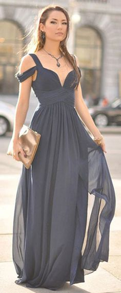 Fabulous Chiffon V-Neck Neckline A-Line Prom Dresses With Pleats
