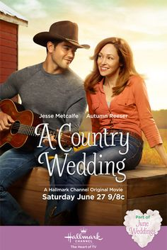 """***""""A Country Wedding"""" Hallmark Channel Original Movie. Sparks fly when an engaged country-music star (Jesse Metcalfe) reconnects with a childhood friend (Autumn Reeser). Hallmark Channel, Películas Hallmark, Films Hallmark, Hallmark Christmas Movies, Holiday Movies, Film Romance, Drama Film, Film Thriller, Famous Country Singers"""