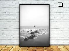 rocky beach photograph black and white beach print by PrintmyInk