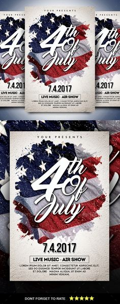 Memorial Day Weekend Party 4th july flyer, 4th of july - independence day flyer
