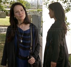 Joan's blue and black stripe t-shirt dress, black purse and clock necklace on Elementary.  Outfit Details: http://wornontv.net/19899/ #Elementary #CBS