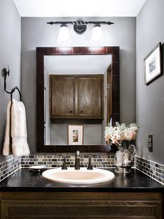 Powder Room Glass Tile Bathroom Backsplash Gray Design, Pictures, Remodel, Decor and Ideas
