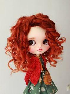 Sweet Blythe doll custom OOAK with soft red hair from mohair Beautiful Little Girls, Beautiful Dolls, Barbie, Red Hair Doll, Bright Red Hair, Cute Baby Dolls, Little Doll, Doll Repaint, Dollhouse Dolls