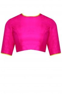 Rani pink blouse with contrast green piping