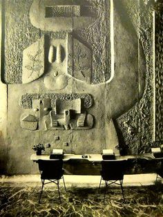 Constantino Nivola's sand-cast relief wall at the Olivetti showroom in New York , 1954.