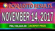 PCSO Lotto Results November 14, 2017 (6/58, 6/49, 6/42, 6D, SWERTRES & E... Lotto Results, Broadway Shows, November, Youtube, November Born, Youtubers, Youtube Movies