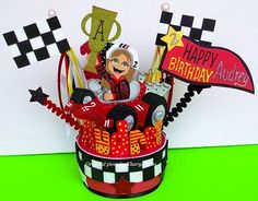 Racing Car Birthday cake topper for children party centerpiece