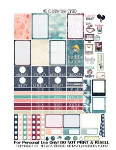 Free Printable Rainy Days Sampler for the Vertical Carpe Diem Inserts from myplannerenvy.com