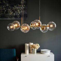 Staggered Glass Chandelier - 8-Light | west elm $399 also in black