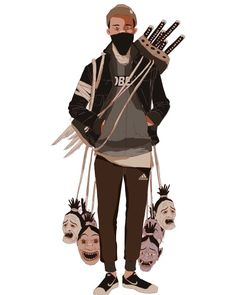 A mashup of traditional Japanese ghost symbology, hip-hop retro-futurism, and urban street couture finds its way in the illustrations of Character Concept, Character Art, Concept Art, Animation Character, Character Illustration, Illustration Art, Art Ninja, Art Asiatique, Samurai Art