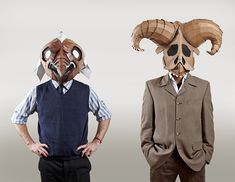 """A collection of cardboard masks created by Eugene Paunil entitled """"From Cardboard"""" was exhibited at Manta Contemporary in October. Cardboard Costume, Cardboard Mask, Cardboard Sculpture, Cardboard Relief, Animal Masks, Animal Heads, West Art, Masks Art, African Masks"""