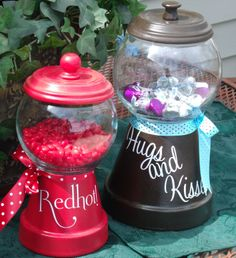 Create great candy jars from flower pots and trays, fish bowls and a custom Simply Said Design.