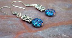 Iridescent Blue and Purple Glass Bead Earrings