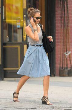 A Line Denim Midi Skirt Outfit 2017 Street Style