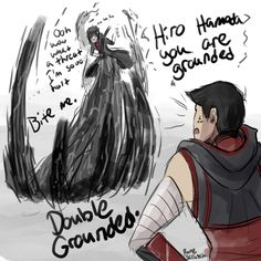 To explain, this is a panel based around runescratch's Darkpath!AU for BH6 (runescratch drew this). I can't explain much more because 1. limited space here and 2. it's kinda complicated. So to get the AU idea, you're gonna have to stalk runescratch's tumblr (which I recommend, because I love the Darkpath!AU, though it is very frustrating).