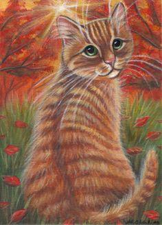 Orange Tabby Kitten - Fall Painting in Acrylics