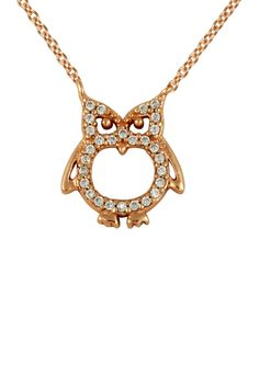 CZ Owl Pendant Necklace - kinda love how angry this owl looks!