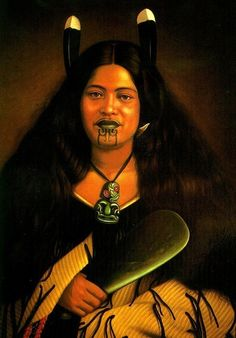 Picture of Maori women from the A Moari high born (warrior class) woman with the Moko or facial tattoos and Tiki jade pedant for protection, and the Pounamo Mere or jade hand-axe, a prized item. Polynesian People, Polynesian Culture, Polynesian Art, New Zealand Tattoo, New Zealand Art, We Are The World, People Of The World, Maori Tribe, Maori Tattoo Designs