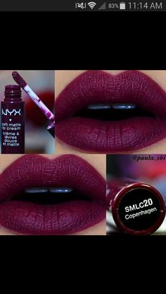 Shop Women's NYX Purple Red size OS Lipstick at a discounted price at Poshmark. Description: Brand new NYX soft matte lip cream in gorgeous 'Copenhagen'. Sold by Fast delivery, full service customer support. All Things Beauty, Beauty Make Up, Hair Beauty, Beauty Tips, Beauty Style, Love Makeup, Makeup Tips, Gorgeous Makeup, Makeup Course