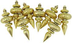 Asstd National Brand 8ct Shiny Gold Swirl Shatterproof Christmas FinialOrnaments 4.25