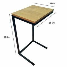 mesa ratona auxiliar industrial arrime p/sofa hierro madera