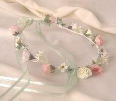 Flower Head Wreath Bridal Bridesmaid Flower Girl Crown Floral Ribbon Hair Halo Head Piece Wreath Garland Tan Gold White C-Vanessa