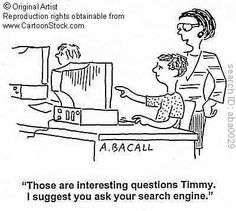 This pin may be a cartoon, but it accurately represents how humans in the information age rely so heavily on the Google search engine. Rather than asking a professional or a teacher, or reading it in a book, it is now the 'norm' to simply look it up online to gain answers.