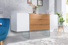 Modernes Sideboard Onyx weiß Hochglanz Glas Eiche Riess Ambiente - Lilly is Love Rustic Romantic Bedroom, Rustic Grey Bedroom, Rustic Country Bedrooms, Modern Grey Bedroom, Modern Minimalist Bedroom, Romantic Home Decor, Living Room Modern, Kids Bed Canopy, Buffet Design