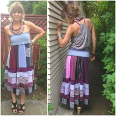 Long Skirt Size M/L Eco Clothing patchwork skirt festival by zasra, $135.00