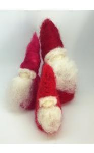 3 rote Wichtelmänner - Zwerge, rot, Wolle - Zwerge kaufen