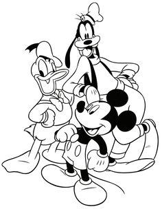 DISNEY COLORING PAGES: PLUTO, DONALD DUCK AND MICKEY MOUSE COLORING PAGE