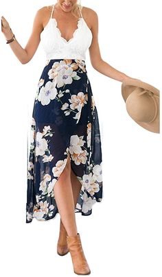 Blooming Jelly Womens Open Back Deep V Neck Sleeveless Summer Floral Maxi Dress (M) - Beach Dresses - Ideas of Beach Dresses Bohemian Summer Dresses, Beach Dresses, Summer Dresses For Women, Nice Dresses, Casual Dresses, Dress Summer, Summer Outfit, Beach Outfits, Dresses 2016