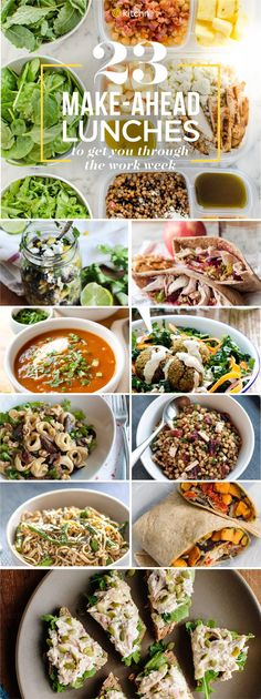 23 Make Ahead Lunch Recipes and Ideas for the week ahead. These lunch box ideas for adults are wonderful to take for work! Lunches are often forgotten in weekly meal prep and planning but no more! Salads grain bowls sandwiches pitas soups and more. Healthy Diet Recipes, Healthy Meal Prep, Lunch Recipes, Healthy Snacks, Healthy Eating, Kid Snacks, Lunch Snacks, Detox Recipes, Healthy Lunches For Work