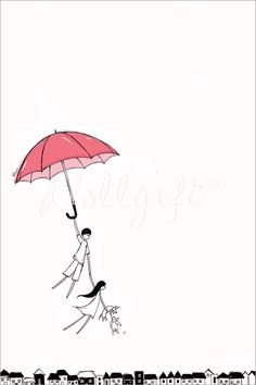 Going Up, by Charllotte Ashlie. #dollgift #illustration #dreamy #umbrella #dog #rabbit