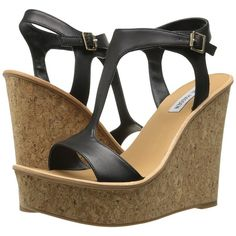 Steve Madden Iluvit Women's Wedge Shoes, Black ($60) ❤ liked on Polyvore featuring shoes, sandals, black, black wedge sandals, black ankle strap sandals, summer wedge sandals, wedges shoes et t strap wedge sandals