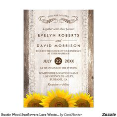 Rustic Wood Sunflowers Lace Western Barn Wedding Card ================= ABOUT THIS DESIGN ================= Rustic Barn Wood Sunflowers Wedding Invitation Suite. (1) All text style, colors, sizes can be modified to fit your needs. (2) If you need any customization or matching items, please feel free to contact me. (In case you didn't get my response, please check the email SPAM folder) (3) You can find matching products (e.g. Invites, RSVP card, Reception Card, Thank You Card, Party Banner…