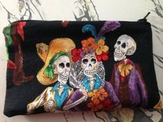 """NEW Fabric and Oilcloth Day of the Dead Paseo de los Muertos Makeup Cosmetic Zipper Pouch Clutch Wet Bag 3.5"""" x 5.5"""""""