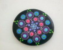 Boho chic decor-bohemian dot art-mandala stones-painted rocks-spring-Mothers Day gift ideas-unique ooak 3D art object-blue green amethyst