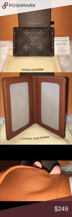 Authentic Louis Vuitton Vertical ID Holder Can be used as a wallet. Box & dustbag included.   In Mint condition 9.5/10. No peeling, No loose stitching, No stickiness, No smell. Date Code: CA0051 Louis Vuitton Accessories Key & Card Holders