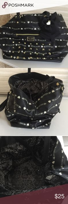 Betsey Johnson purse Purse is black & white with gold studs all around with stylish bow on front. Betsey Johnson Bags Satchels